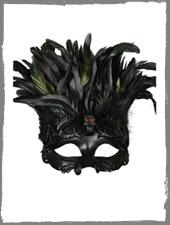 Venezianische Totenkopfmaske mit Federn