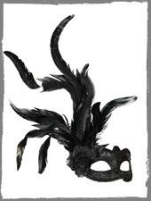 Venezianische Maske mit Blüte & Feder
