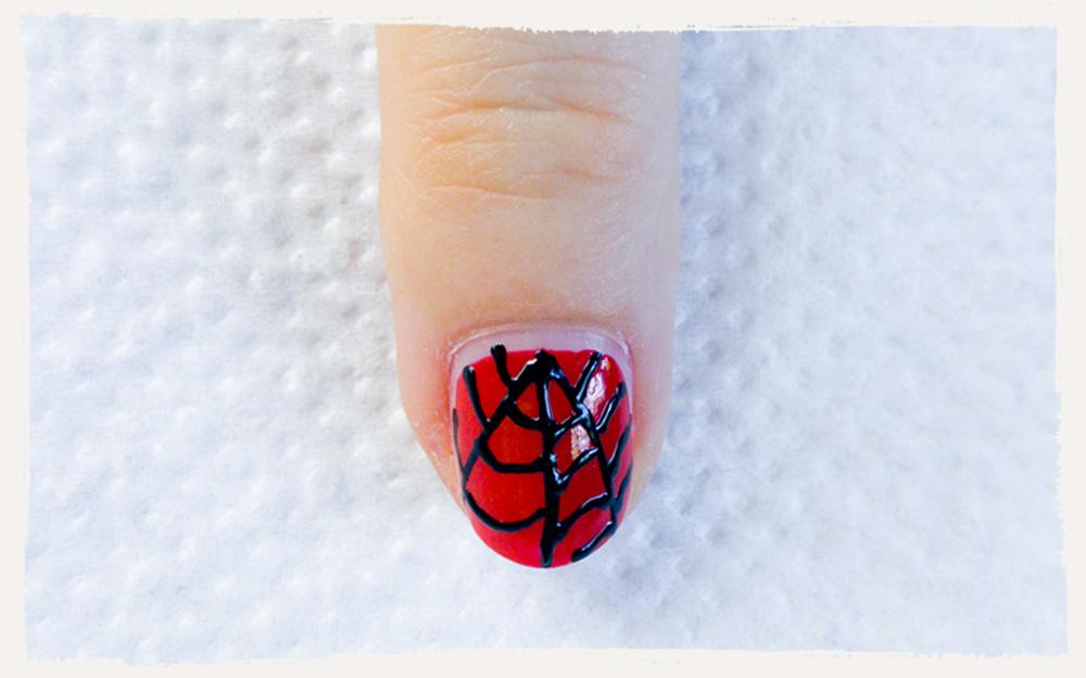 spiderman fingern gel superheld nageldesign selber machen. Black Bedroom Furniture Sets. Home Design Ideas
