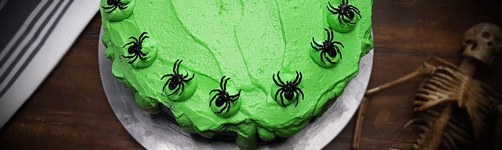 Spinnen Schleim Kuchen Halloween Rezept