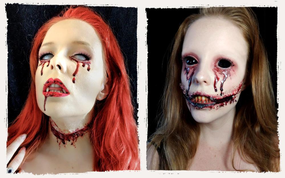 Halloween Wunden Latex Make up Kratzwunde Blutige Zombie Schminke Horror Narben
