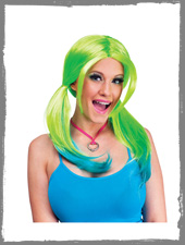 Green / blue neon wig