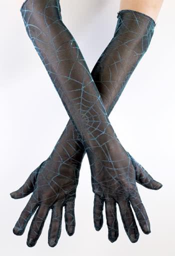 Spinnweben Handschuh türkis