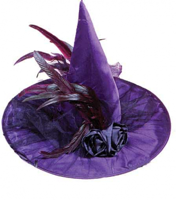 Elegant Purple Witch Hat with Black Roses and Feathers