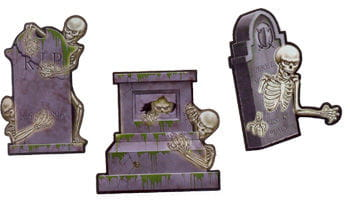 3-piece skeleton grave stone of cardboard
