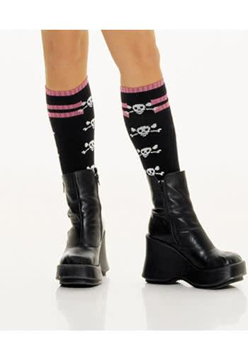 Knee High Socks with Skulls