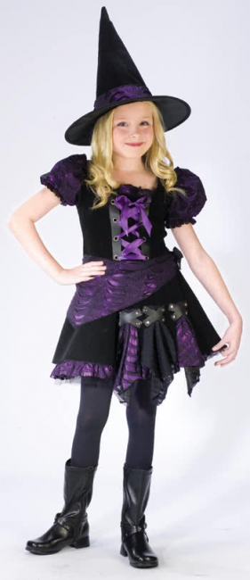 Purple Punk Witch Child Costume L