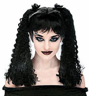 Crimped Black Pigtail Wig