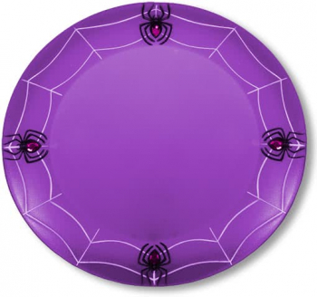 Purple cobwebs Plate with spiders