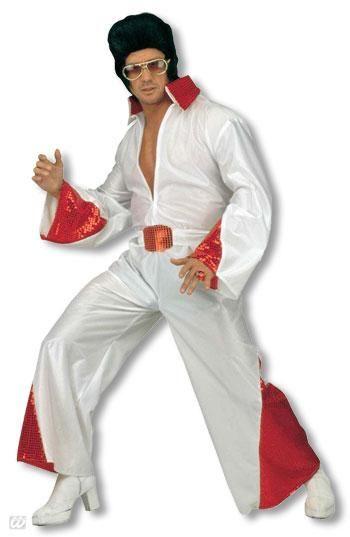 King of Rock Kostüm mit rotem Glitter L