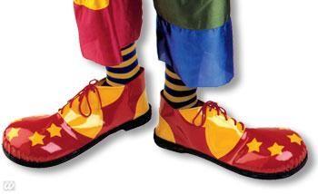 Clown Schuhe gelb und rot mit Sternen