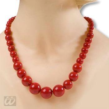 Rote Kunststoff Perlenkette