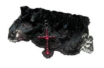 Strumpfband mit Gothic Kreuz