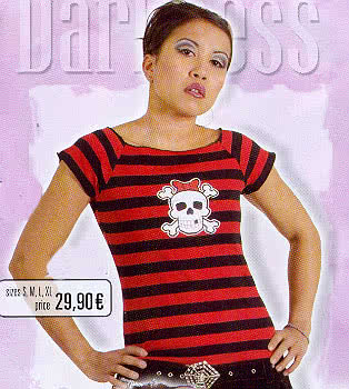 Black/Red Shirt Stripes, White Skull on Front Size M