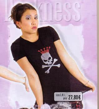 Black Shirt Glitter Queen Skull Front Size L