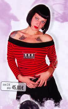 Carmenshirt rot/schwarz gestreift Gr. M