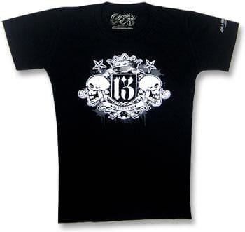 Crowned Double Skull T Shirt Size L