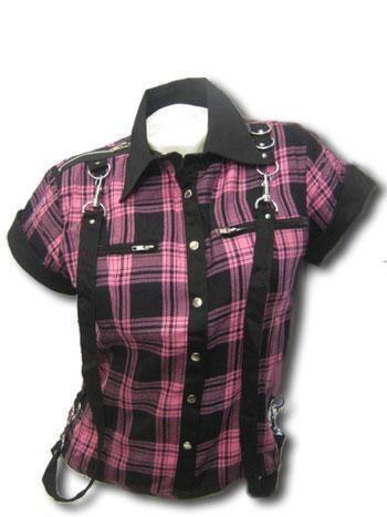pink plaid shirt in bondage Look XL