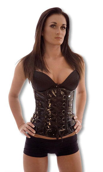 PVC Underbust Corset with Buckles M