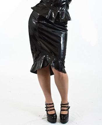 PVC Pencil Skirt Size S