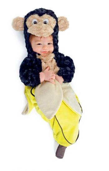 Baby monkey in banana peel