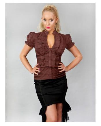 Burleska ruffles blouse brown