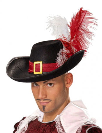 Elegant Musketeer Hat with Feathers Red-White