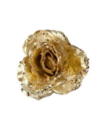 Glitzernde Deko Rose mit Clip Gold