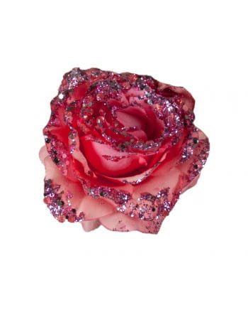 Glistening Rose Decoration with Clip Pink