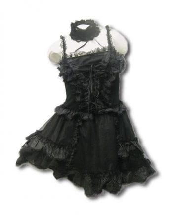 Schwarzes Minikleid mit weißen Punkten Gr. S/M