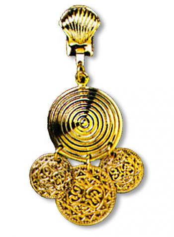 Goldene Ohrringe Spiralen mit Münzen