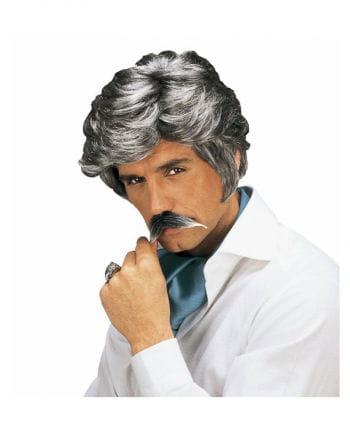 Playboy wig with beard in gray