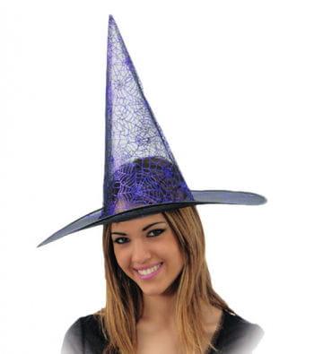 Lurex Witch Hat with Cobweb Design Purple