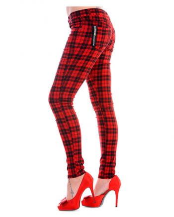 Tartan red skinny jeans