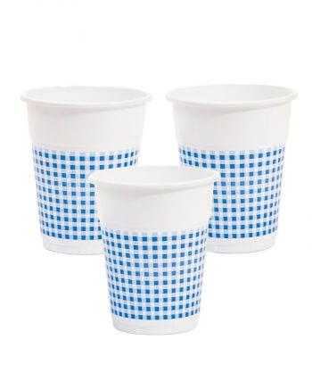 25 plastic cups white / blue