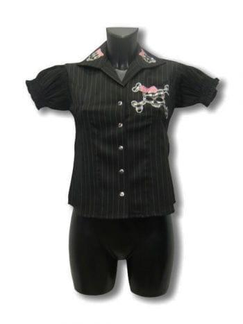 Nadelstreifen Shirt mit Totenkopf
