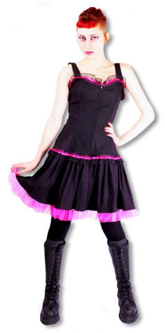 Nadelstreifen Kleid schwarz-pink