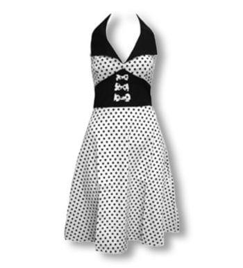 Dot dress white black L / 40