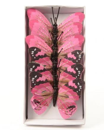 Glitzerschmetterling 6er Set 10 cm rosa