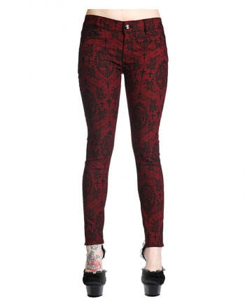 Gothic Jeans dunkelrot