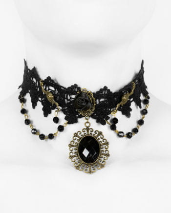 Victorian necklace with black pearls and lace