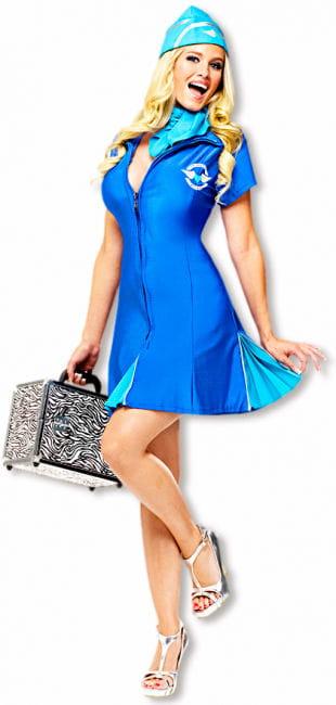Sexy Stewardess Costume Blue M/L 38-40