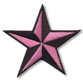 Stern Aufnäher schwarz pink