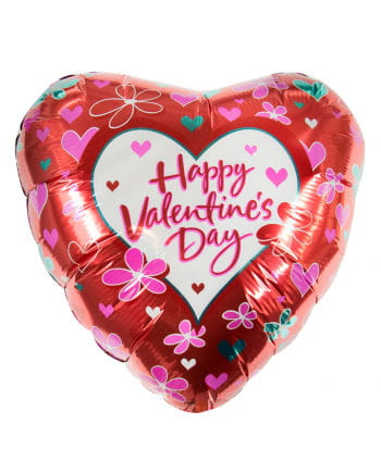 Happy Valentine`s Day with flowers foil balloon