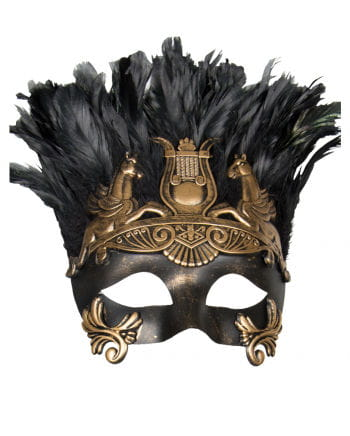 Antique eye mask with feathers black / gold