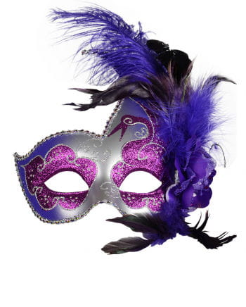 Venetian Mask with Feathers purple / silver