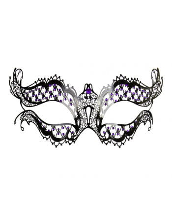 Metal eye mask with purple rhinestones