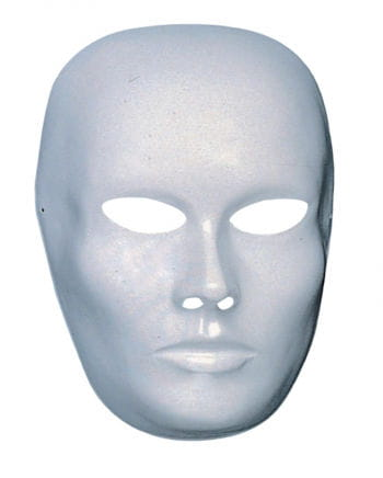 White face mask closed mouth
