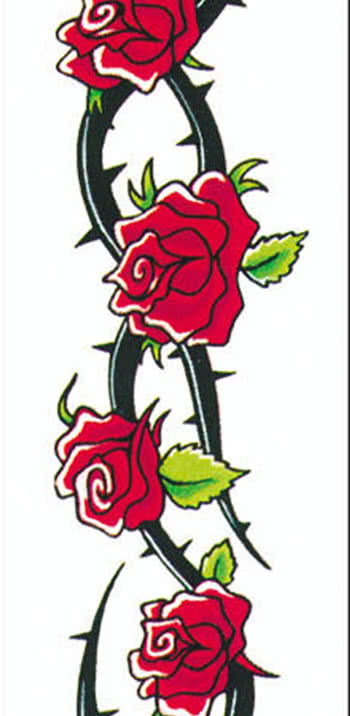 Tattoo roses and thorns to stick carnival tattoos for Rose with thorns tattoo