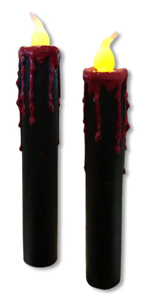 blutende led kerzen 2er set schwarze led kerzen mit blutstropfen horror shop com. Black Bedroom Furniture Sets. Home Design Ideas